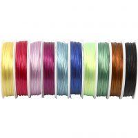 Elastisk smykketråd, tykkelse 1 mm, ass. farger, 10x25 m/ 1 pk.