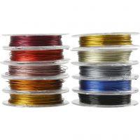 Smykkewire, tykkelse 0,38 mm, ass. farger, 10x10 m/ 1 pk.
