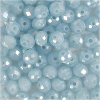 Facettperler, str. 5x6 mm, hullstr. 1 mm, havblå, 100 stk./ 1 pk.