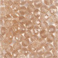 Facettperler, str. 5x6 mm, hullstr. 1 mm, rosa, 100 stk./ 1 pk.