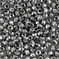 Facettperler, str. 3x4 mm, hullstr. 0,8 mm, metallic grå, 100 stk./ 1 pk.