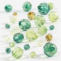 Harmoni facettperlemix, str. 4-12 mm, hullstr. 1-2,5 mm, grønn glitter, 45 g/ 1 pk.