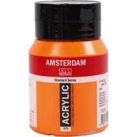 Student kunstner akrylmaling, semi opaque, Azo orange (276), 500 ml/ 1 fl.