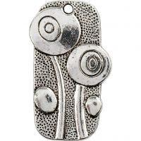 Anheng, str. 37x20 mm, hullstr. 2 mm, antikk sølv, 6 stk./ 1 pk.