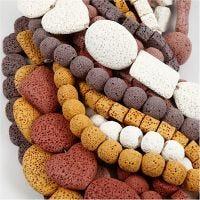 Lavaperle mix, str. 6-37 mm, hullstr. 1+2 mm, Innhold kan variere , ass. farger, 20 strenger/ 1 pk.