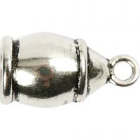 Enderør, str. 11x20 mm, hullstr. 6 mm, antikk sølv, 40 stk./ 1 pk.