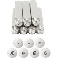 Pregestempel, Europeiske bokstaver, L: 65 mm, str. 3 mm, 7 stk./ 1 sett