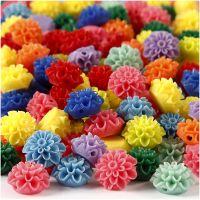 Blomsterperler, str. 15x8 mm, hullstr. 1,5 mm, ass. farger, 10x25 stk./ 1 pk., 300 ml