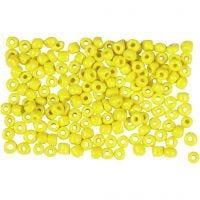 Rocaiperler, dia. 3 mm, str. 8/0 , hullstr. 0,6-1,0 mm, gul, 500 g/ 1 pk.