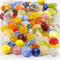 Glassperler, rund, oval, rundflat, dia. 6-13 mm, hullstr. 0,5-1,5 mm, ass. farger, 350 g/ 1 pk.