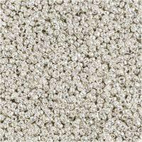Rocaiperler, dia. 1,7 mm, str. 15/0 , hullstr. 0,5-0,8 mm, Sølv metall, 25 g/ 1 pk.