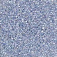 Rocaiperler, dia. 1,7 mm, str. 15/0 , hullstr. 0,5-0,8 mm, lys blå, 500 g/ 1 pose