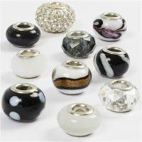 Glasslinks - harmoni, dia. 13-15 mm, hullstr. 4,5-5 mm, svart/hvit harmoni, 10 ass./ 1 pk.