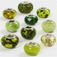 Glasslinks - harmoni, dia. 13-15 mm, hullstr. 4,5-5 mm, grønn glitter, 10 ass./ 1 pk.
