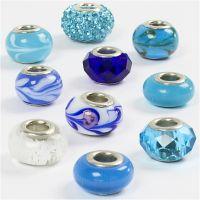 Glasslinks - harmoni, dia. 13-15 mm, hullstr. 4,5-5 mm, blå harmoni, 10 ass./ 1 pk.