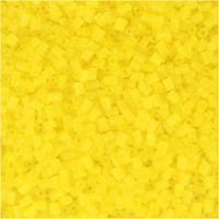 Rocaiperler, 2-cut, dia. 1,7 mm, str. 15/0 , hullstr. 0,5 mm, transparent gul, 500 g/ 1 pose