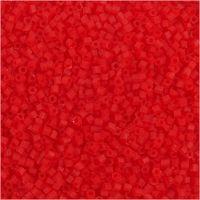 Rocaiperler, 2-cut, dia. 1,7 mm, str. 15/0 , hullstr. 0,5 mm, transparent rød, 25 g/ 1 pk.