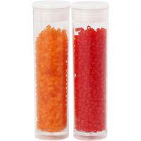 2-cut, dia. 1,7 mm, str. 15/0 , hullstr. 0,5 mm, transparent orange, transparent rød, 2x7 g/ 1 pk.
