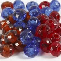 Glasslinks, str. 9x14 mm, hullstr. 4 mm, blå, brun, rød, 36 stk./ 1 pk.