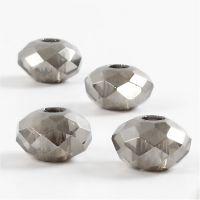 Glasslinks, str. 9x14 mm, hullstr. 4 mm, mørk grå, 4 stk./ 1 pk.