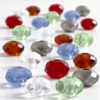 Glasslinks, str. 9x14 mm, hullstr. 4 mm, ass. farger, 24 ass./ 1 pk.