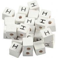 Bokstavperle, H, str. 8x8 mm, hullstr. 3 mm, hvit, 25 stk./ 1 pk.