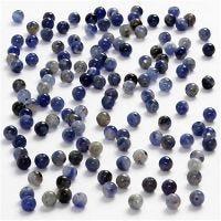 Ekte stein, dia. 3 mm, hullstr. 0,5-0,7 mm, blå, 120 stk./ 1 pk.