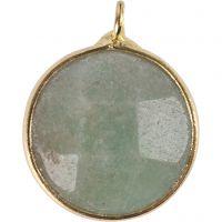 Smykkeanheng, Halvedelstein: grønn amozonitt, dia. 15 mm, hullstr. 2 mm, grønn, 1 stk.