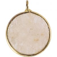 Smykkeanheng, Halvedelstein: beige jadestein, dia. 15 mm, hullstr. 2 mm, beige, 1 stk.