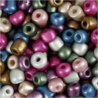 Rocaiperler, dia. 5 mm, str. 4/0 , hullstr. 1,2 mm, metallic farger, 720 g/ 1 boks