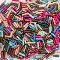 Avlange glassperler, L: 6 mm, dia. 1,5-2 mm, hullstr. 1 mm, metallic farger, 130 g/ 1 pk.