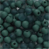 Plastperler, dia. 6 mm, hullstr. 2 mm, flaskegrønn, 40 g/ 1 pk.