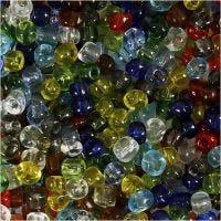 Rocaiperler, dia. 4 mm, str. 6/0 , hullstr. 0,9-1,2 mm, Blank transparent, 1000 g/ 1 pk.
