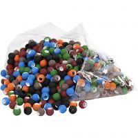 Link Beads, str. 8x10 mm, hullstr. 5 mm, ass. farger, 300 g/ 1 pk.