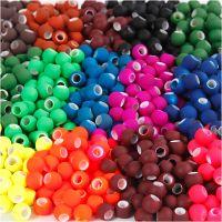 Link Beads, str. 8x10 mm, hullstr. 5 mm, ass. farger, 20x21 g/ 1 pk.