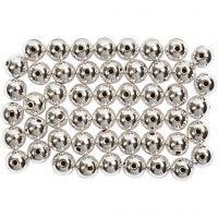 Voksperler, dia. 5 mm, hullstr. 0,7 mm, sølv, 100 stk./ 1 pk.