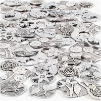 Anheng, str. 20-37 mm, hullstr. 2+2,5 mm, Innhold kan variere , antikk sølv, 278 stk./ 1 pk.