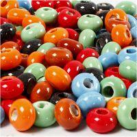 Keramikk perler, dia. 15 mm, hullstr. 5,5 mm, Innhold kan variere , ass. farger, 300 stk./ 1 pk.