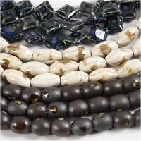 Pottery Beads, L: 12-19 mm, hullstr. 2 mm, blå, grå beige, råhvit, 99 stk./ 1 pk.