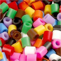 Rørperler, str. 5x5 mm, hullstr. 2,5 mm, medium, standardfarger, 5000 ass./ 1 spann