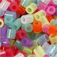 Rørperler, str. 5x5 mm, hullstr. 2,5 mm, medium, glitter farger, 6000 ass./ 1 pk.