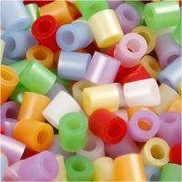 Rørperler, str. 5x5 mm, hullstr. 2,5 mm, medium, perlemorsfarger, 5000 ass./ 1 spann
