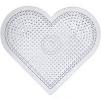 Perleplate, stort hjerte, H: 15 cm, transparent, 10 stk./ 1 pk.