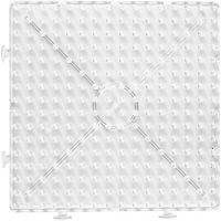 Perleplate, stor samlekvadrat, str. 15x15 cm, JUMBO, transparent, 1 stk.