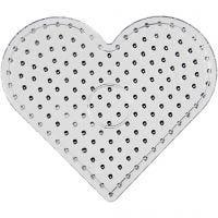 Perlebrett, hjerte, JUMBO, transparent, 1 stk.