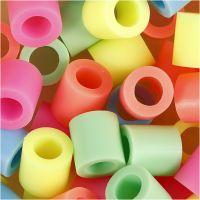 Rørperler, str. 10x10 mm, hullstr. 5,5 mm, JUMBO, pastellfarger, 2450 ass./ 1 spann