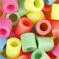 Rørperler, str. 10x10 mm, hullstr. 5,5 mm, JUMBO, pastellfarger, 550 ass./ 1 pk.