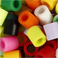 Rørperler, str. 10x10 mm, hullstr. 5,5 mm, JUMBO, suppl. farger, 2450 ass./ 1 spann
