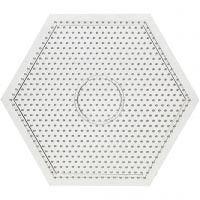 Perleplate, stor sekskant, str. 15x15 cm, 10 stk./ 1 pk.