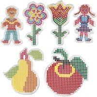 Stiftplater, 2 blomster, jente, gutt, eple og pære, str. 8,5x14-14x16 cm, 6 stk./ 1 pk.